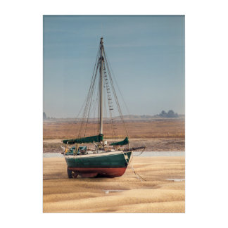 Sail boat stranded at low tide on beautiful sand acrylic wall art