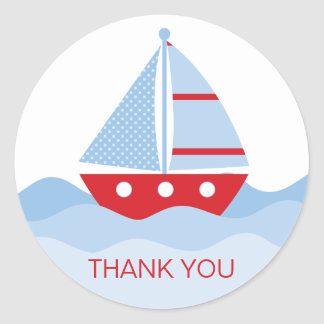 Sail Boat Thank You Classic Round Sticker