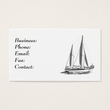 Professional Business Sail Boat White Business Card Template