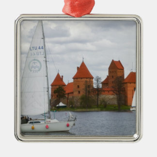 Sail boat with Island Castle by Lake Galve, Square Metal Christmas Ornament