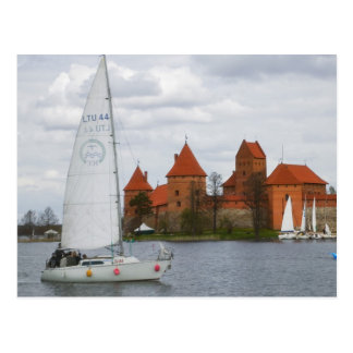 Sail boat with Island Castle by Lake Galve, Postcard