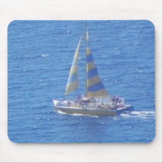Sail Boat with Striped Sails Mouse Pad