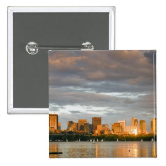 Sail boating on The Charles River at sunset Button