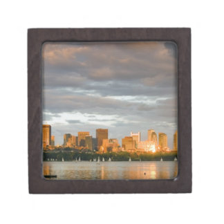 Sail boating on The Charles River at sunset Jewelry Box