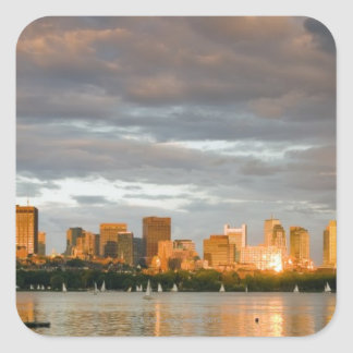 Sail boating on The Charles River at sunset Square Sticker