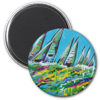 sail boats 2 inch round magnet