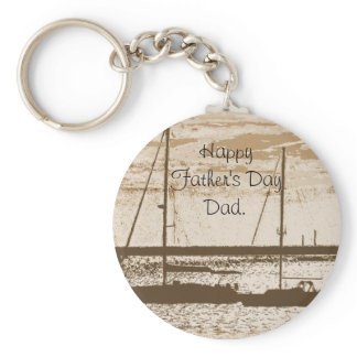 Sail boats at dusk keychain