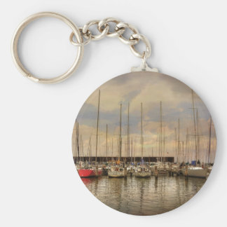 Sail Boats At The Marina Waiting For the Weekend Basic Round Button Keychain