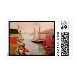 Sail Boats docked Stamp