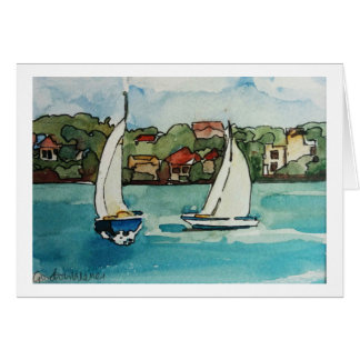 Sail boats in Sydney - blank card