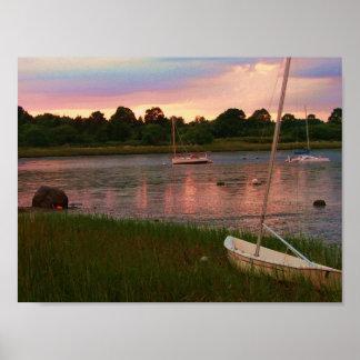 sail boats low tide rock nook kingston poster