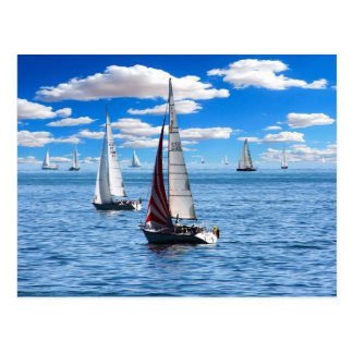 Sail Boats on the Blue Waters of the Lake Postcard