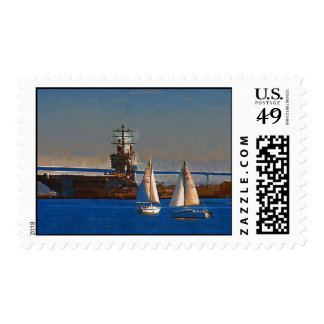 Sail boats, San Diego Harbor Postage Stamps