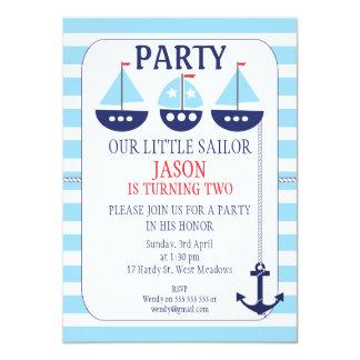 Sail Boats Stripes Nautical Birthday Invitation