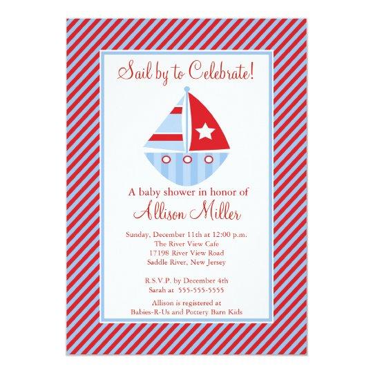 Sail By  Sailing Sailboat Boy Baby Shower Card