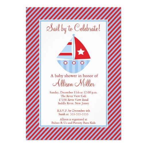 Sail By  Sailing Sailboat Boy Baby Shower Personalized Invitation