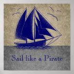 Sail like a pirate, boy nautical, vintage personal print