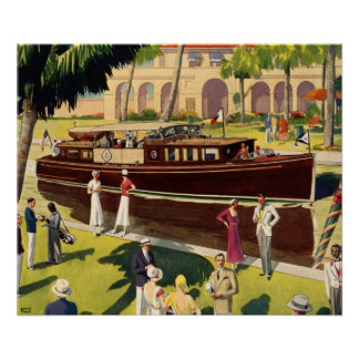 Sail Motor Boat Vintage Antique Nautical Poster