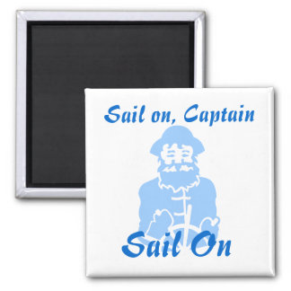 Sail on Blue on White 2 Inch Square Magnet