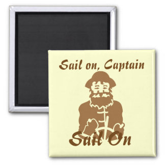 Sail on Brown on Yellow 2 Inch Square Magnet