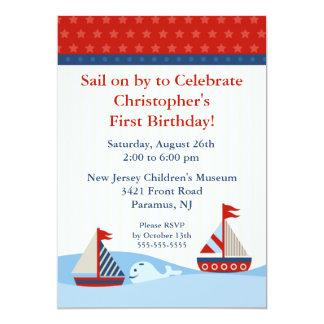 "Sail on by & Celebrate Birthday Invitation 5"" X 7"" Invitation Card"
