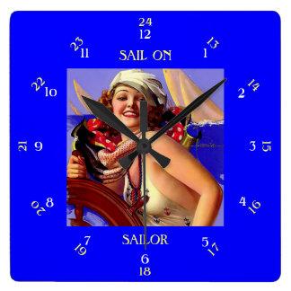 Sail On Sailor Square Wall Clock