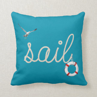 sail rope design and life ring on ocean blue color throw pillow
