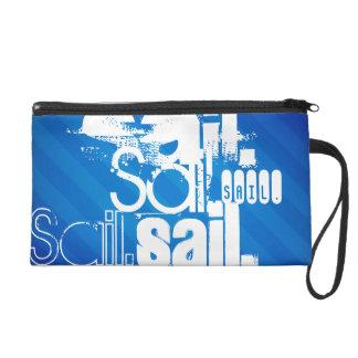 Sail; Royal Blue Stripes Wristlet Clutch