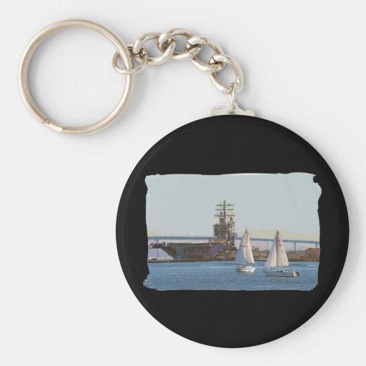 Sail San Diego Basic Round Button Keychain