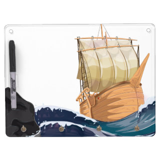 Sail Ship in Ocean Storm Dry Erase Board With Keychain Holder