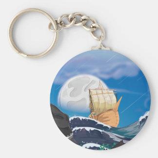 Sail Ship in Ocean Storm Keychain