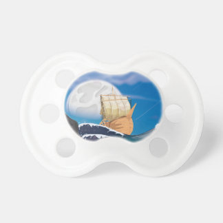 Sail Ship in Ocean Storm Pacifier