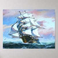 Sail Ship Painting Poster