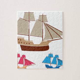 Sail ship vector vintage jigsaw puzzle