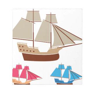 Sail ship vector vintage notepad
