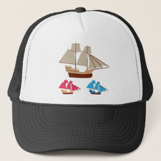 Sail ship vector vintage trucker hat