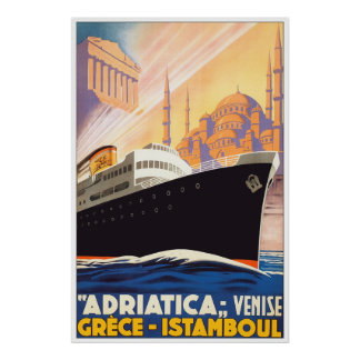 Sail The Adriatica Vintage Design Poster