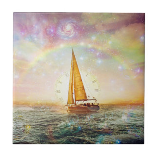 Sail The Sea Of Time Ceramic Photo Tile