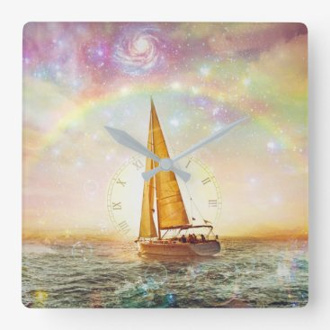 Ocean Themed Sail The Sea Of Time Wall Clock
