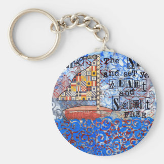 Sail the Sea & Set Your Heart and Spirit Free Basic Round Button Keychain