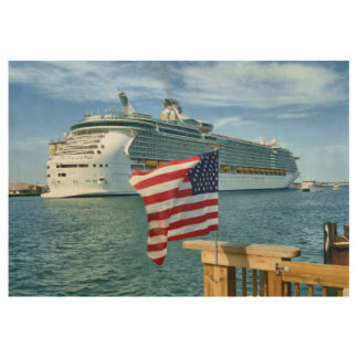 Sailaway with Flag Wood Poster