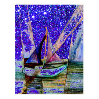 Sailboat Abstract Blue Purple Sparkle Night Sky Postcard