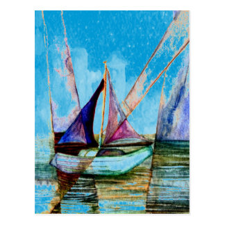 Sailboat Abstract Blue w White Misty Castle Sky Postcard