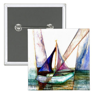 Sailboat Abstract - CricketDiane Ocean Art Pinback Button