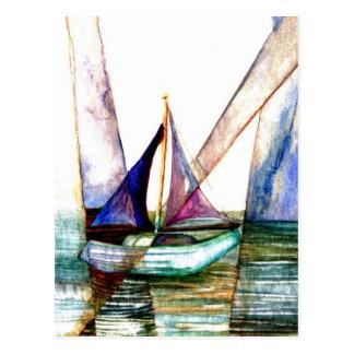 Sailboat Abstract - CricketDiane Ocean Art Postcard