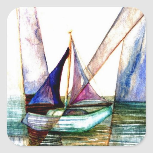 Sailboat Abstract - CricketDiane Ocean Art Square Sticker