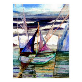 Sailboat Abstract High Ocean Waves Blue Sky Postcard