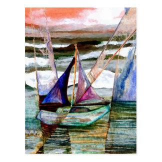 Sailboat Abstract High Waves Orange Sky Postcard