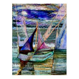 Sailboat Abstract Pastel Night Sky Postcard