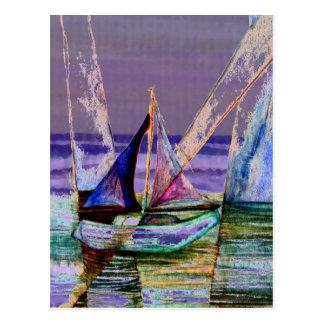 Sailboat Abstract Purple Sea Waves Postcard